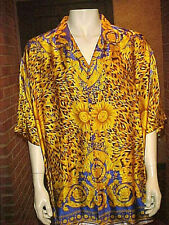 VINTAGE MENS SILK SHIRT CUSTOM TAILORED SHORT SLEEVE ANIMAL PRINT 5XLARGE