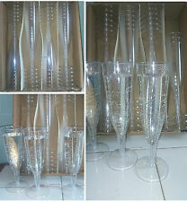 24 PLASTIC CHAMPAGNE FLUTE GLASSES PARTY WEDDING EVENT CLASSY DRINK ALCOHOL UK