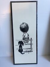 Vintage Lithograph Boy On Fence With Dog By Lee Black & White Soroka Sales #20