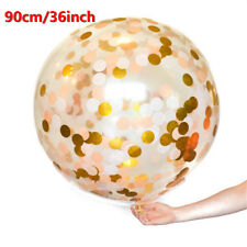 GIANT 36'' 3ft Confetti Balloon Large Clear Gold Glitter Baby Shower Wedding HU