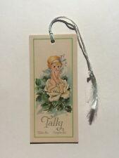 Vintage 1920s Baby Angel w/ Wings Sitting on Rose Bridge Game Tally or Bookmark