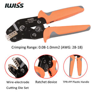 IWISS SN-2549 AWG28-18 Terminal Crimper Pliers Ratcheting Wire Crimping Tool