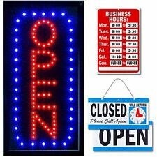 Ultima Led Neon Open Sign For Business Vertical Lighted With Flashing Mode Up X