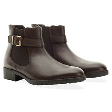 Redfoot Ladies Leather Bethany Brown Chelsea Buckle Boots UK 4/Euro 37 RRP £95
