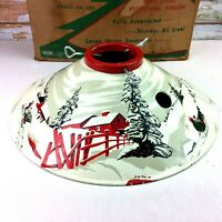 Vintage 1950 Tin Litho COLORAMIC Christmas Tree Stand Winter Country 398 BOX
