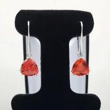 GORGEOUS 7cts Orange Padparadscha Sapphire Earrings Sterling Silver Trillion NWT