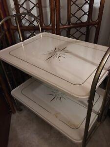 Vintage MCM Atomic Starburst Folding Metal Bar Cart
