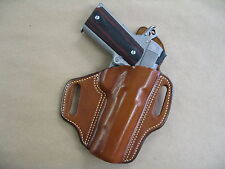"Colt 1911 5"" OWB Leather 2 Slot Molded Pancake Belt Holster CCW TAN RH"