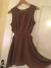 GLAMOROUS Black/Brown Skater Style Daisy Peep Hole Dress Size 10 RRP £30 BNWT