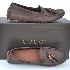 GUCCI New sz 40 G - 10.5 Auth Designer Womens Bamboo Drivers Flats Shoes brown