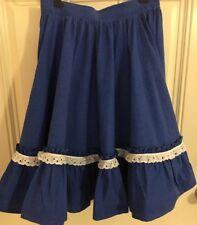 """Custom Western Square Dance Skirt size 26"""" Waist Royal Blue white dot eyelet"""