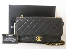 rk5108 Auth CHANEL Black Quilted Soft Lambskin CC Turn Lock Chain Shoulder Bag