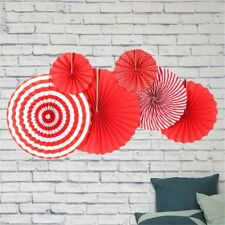 6pcs Red Stripe Paper Fans Valentines Day Party Decor Wedding Hanging Supplies