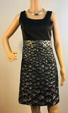 H&M Silver Metallic & Black Satin Shimmer Sheath Dress/ Sleeveless Size US 6