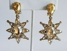 OSCAR DE LA RENTA Tropical Bloom Star Crystal Drop Statement Earrings NEW $395
