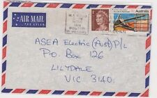 Stamps 9c National Development uprated 1c QE2 on cover airmail Perth to Victoria