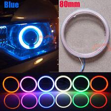 2x Car Motorcycle 80mm Blue LED Light Angel Eye Cob Halo Ring Warning Light DRL
