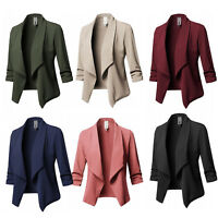 Womens Collar Suit Thin Blazer Coat Jacket Long Sleeve Cardigan Outwear Tops
