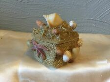 HEART SHAPED RESIN TRINKET BOX WITH SEA SHELLS