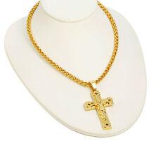 Men Men's Gold Plated Hip Hop Jesus Iced Cross Pendant 70cm Cuban Necklace