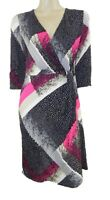 Marks & Spencer Pink/Grey Stretchy Shift Dress with 3/4 Sleeves Orig Price £45