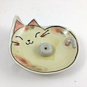 Japanese Incense Stick Cone Burner Stand Holder Ceramic Caramel Cat w/ Crackle