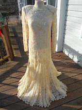 Fabulous Vintage Beaded Lace Formal Evening Dress Wedding Gown Size M - L