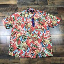NEW Caribbean Joe Men's Hawaiian Shirt Short Sleeve Button Red Tiki Aloha Beach