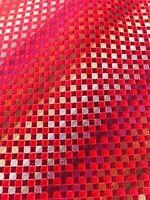 """Kenneth Cole Men's 100% Silk Red Metallic Geometric Necktie, 58"""" X 4"""""""