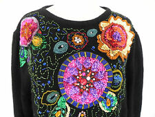 Cedars Sweater Tunic Long Sleeve Silk Angora Sequin Beading Black  Size L
