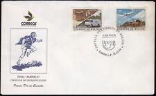 Upaep Bolivie 882/83 1994 Tram Van Chariot Avion SPD FDC Sur Premier Jour