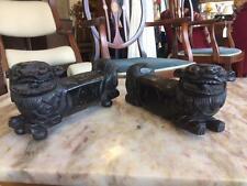 Pair Of Antique 19th Century Chinese Hardwood Foo Dog/ Foo Lion Ornaments