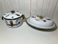 2 Vintage Mid Century George Briard Chafing Dish with Lid Enamel Casserole Pot