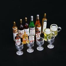 1/12 Dollhouse Miniature Kitchen Wine Drink,Whisky Bottles,Goblet Cups,Beer Cups