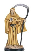 "12"" Gold Santa Muerte Statue Holy Death Grim Reaper Santisima Skull Figurine"