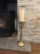 Large Antique Gold Hurricane Candle Holder, Metallic Bronze Pedestal 65cm