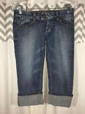 GUESS Capri Size 2 Medium  Wash Capri Crop Pants Denim PERFECT Fold Cuff