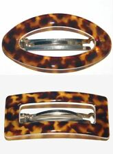 Barrette Hair Clip Spotted Tokyo Tortoise Print Open Buckle Cut Made in France