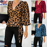 Women Leopard Print Waist Tie Long Sleeve V-neck Casual Loose T-Shirt Top Blouse