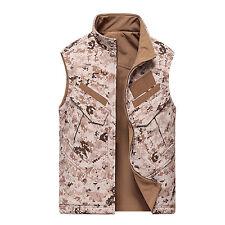 Mens Reversible Soft Shell Camo Tactical Hunting Vest Sleeveless Waistcoat Gilet