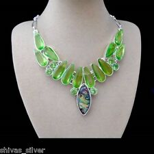 Abalone Muschel & Peridotquarz, grün, Kette Halskette, Collier, Silber plattiert