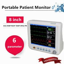 6parameters Patient Monitor Cardiac Monitor Ecg Nibp Resp Pr Spo2 Temp Sale Fda