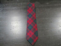 VINTAGE Ralph Lauren Polo Neck Tie Blue Green Plaid Wool Hand Made Mens 90s