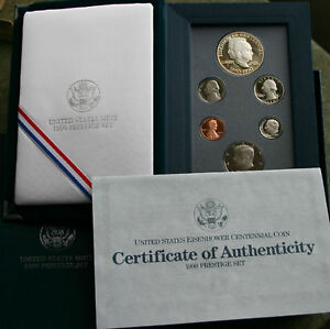 1990 US Mint Six Coin PRESTIGE Proof Set Ike 90% Silver Dollar with Box and COA