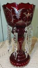 BOHEMIAN / CZECH ART GLASS MANTEL LUSTER RUBY RED CUT GLASS Deer,Birds,Prisms