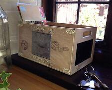 French Wooden Storage Box Trug Crate Farmyard Chalkboard Shabby Vintage Style