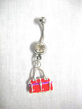 CLEARANCE RED & PURPLE DIVA PURSE HANDBAG CHARM ON CLEAR CZ BELLY BUTTON RING