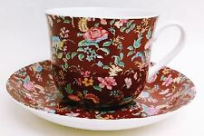 Burgundy Petite Bombay Large Cup & Saucer Bone China Breakfast Set Decorated UK