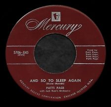"""PATTI PAGE """"AND SO TO SLEEP AGAIN/One Sweet Letter"""" MERCURY 5706 (1951) 45rpm"""