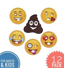 Emoji Party Masks - Foam Material - 12 Pack - 6 Different Faces - Fun Costume